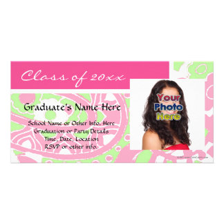 Pink and Green Cheerful Graduation Photo Cards