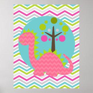 Pink and Green Chevron Dragon Nursery Poster