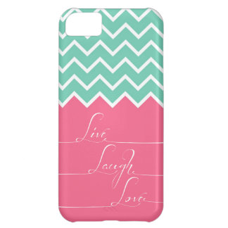 Pink and green chevron/live,laugh,love iPhone 5C cover