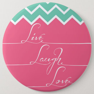 Pink and green chevron/live,laugh,love pinback button
