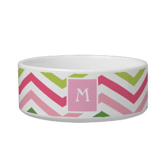 Pink and Green Chevron  | Monogram Cat Dish