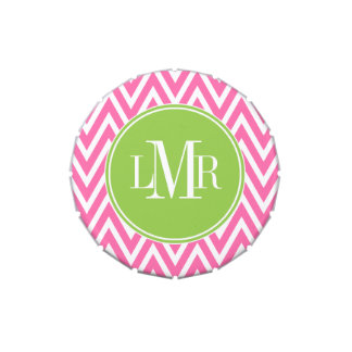 Pink and Green Chevrons Monogram Candy Tin