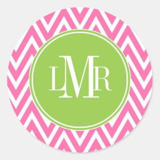 Pink and Green Chevrons Monogram Classic Round Sticker