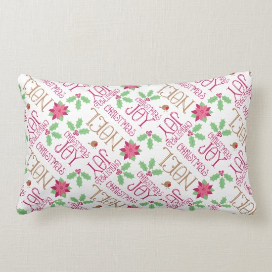 Pink and Green Christmas Greetings and Holly Lumbar Pillow