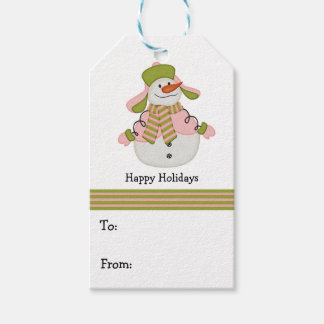 Pink and Green Christmas Snowman Gift Tags