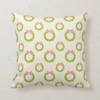 Pink and Green Christmas Wreathe Throw Pillow