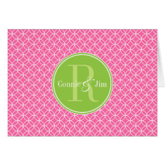 Pink and Green Circles Pattern Monogram Stationery Note Card