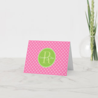 Pink and Green Circles Pattern Monogram Note Card