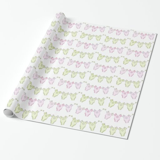 Green Baby Gifts Uk : Pink and green clothesline baby shower gift wrap zazzle