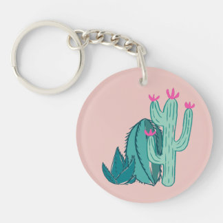 Pink and Green Cute Cactus Keychain