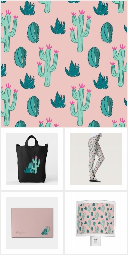 Pink and Green Cute Cactus Pattern