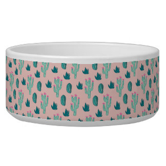 Pink and Green Cute Cactus Pattern Bowl