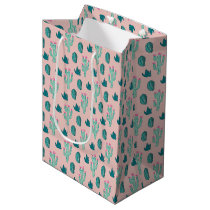Pink and Green Cute Cactus Pattern Medium Gift Bag