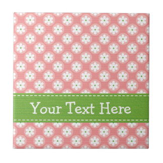 Pink and Green Daisy Ceramic Tile Trivet
