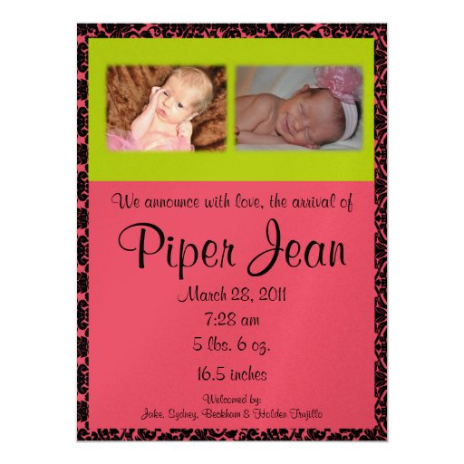 """Pink and Green Damask Birth Announcement 6.5"""" X 8.75"""" Invitation Card"""