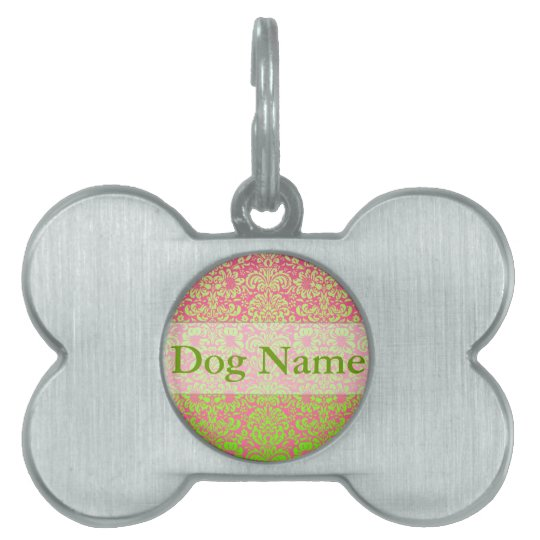 Pink and Green Damask Custom Name Pet Tag