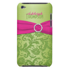 Pink And Green Damask Ipod Touch Case at Zazzle