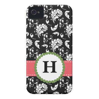Pink and Green Damask Monogram Blackberry Bold Cas Case-Mate iPhone 4 Cases