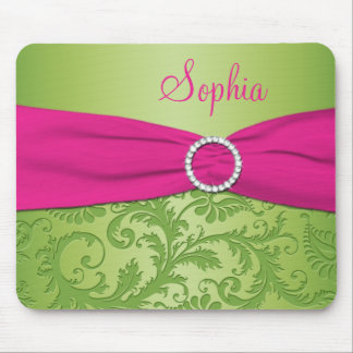 Pink and Green Damask Mousepad