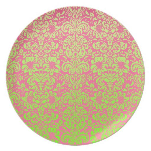 Pink and Green Damask Party Plates