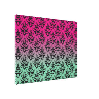 Pink and Green Damask Pattern Stretched Canvas Prints