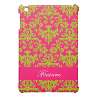 Pink and Green Damask Pattern Personalized Name Case For The iPad Mini