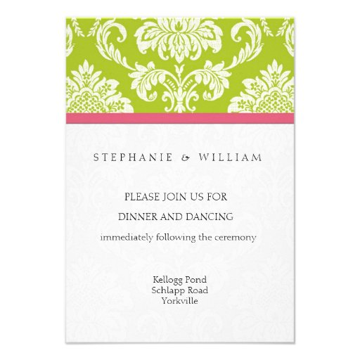 Pink and Green Damask Reception Card Custom Invite