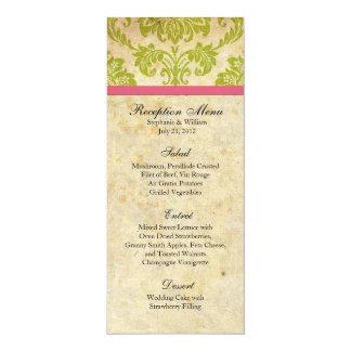 Pink and Green Damask Reception Menu Card