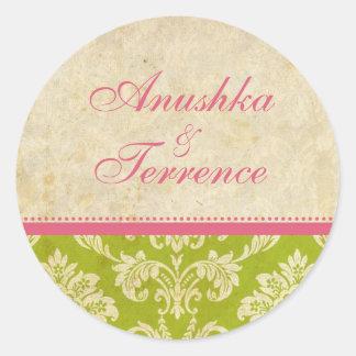 Pink and Green Damask Stripe Wedding Sticker