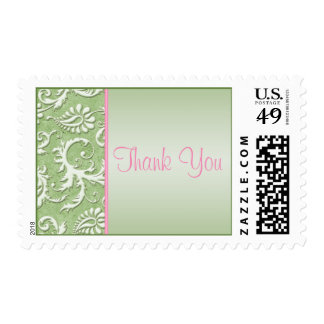 Pink and Green Damask Wedding Thank You Postage