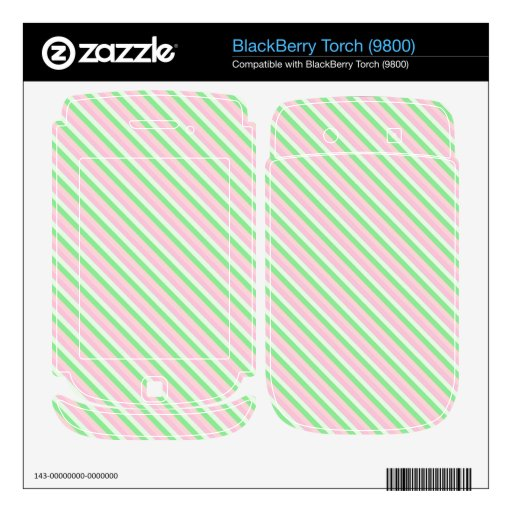 Pink and Green Diagonal Stripes BlackBerry Decals