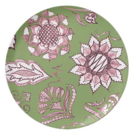 Pink and Green Dinner Plate