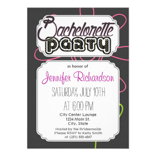 Pink and Green Doodle Flower on Dark Gray Invites
