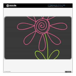 "Pink and Green Doodle Flower on Dark Gray 11"" MacBook Air Skins"