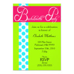Pink and Green Dots Bachelorette Party Invitation