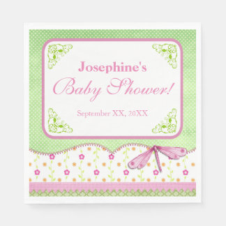 Pink and Green Dragonfly Baby Shower Paper Napkin