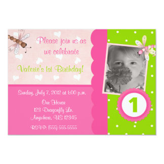 Pink and Green Dragonfly Girls Birthday Invitation
