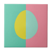 Pink and Green Egg Ceramic Tile