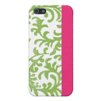 Pink and Green Elegant Damask iPhone SE/5/5s Case