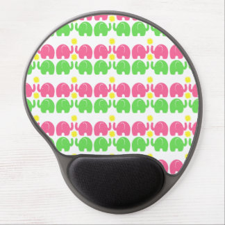 Pink and Green Elephant Pattern Gel Mouse Pad