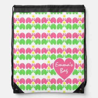Pink and Green Elephant Pattern with Heart Drawstring Bag