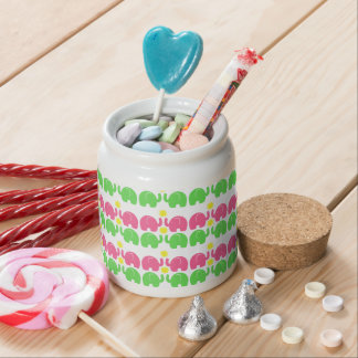 Pink and Green Elephants Candy Jar