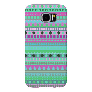 Pink and Green Fantasy Girl's Funky Tribal Pattern Samsung Galaxy S6 Case