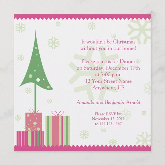 Pink and Green Festive Christmas Invitation