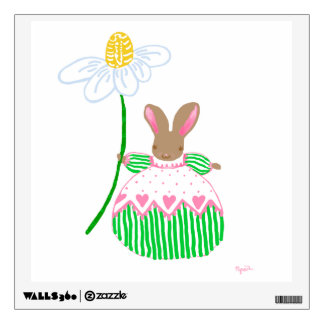 pink and green Fifi bunny Wall Sticker