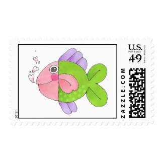 Pink and Green Fish Postage Stamp