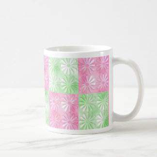 Pink and green floral abstract pattern coffee mug