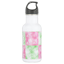 Pink and green floral abstract pattern water bottle