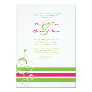 Pink And Green Fl Bars Wedding Invitation
