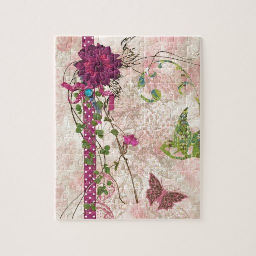 Pink and Green Floral Bella Design Jigsaw Puzzles